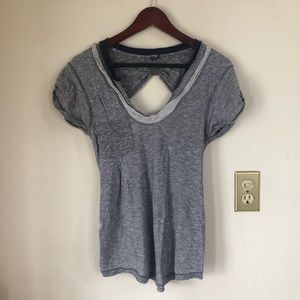 Free People Open Back Pocket Gray Tee Shirt Top